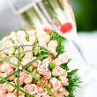 Stock Photo: Luxury wedding bouquet of roses with champagne