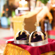 Orthodox wedding ceremony and two golden crown — Stock Photo