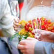 Stock Photo: Beautiful wedding bouquet and champagne