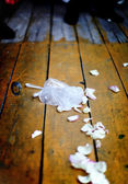Wedding tradition of broken glass and dish — Stock Photo