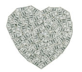 Hundred Dollar Bill Heart — Stock Photo
