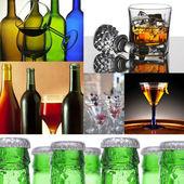 Alcoholic Beverage Collage — Stock Photo