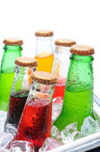Assorted Soda Bottles in Ice Chest — Stock Photo