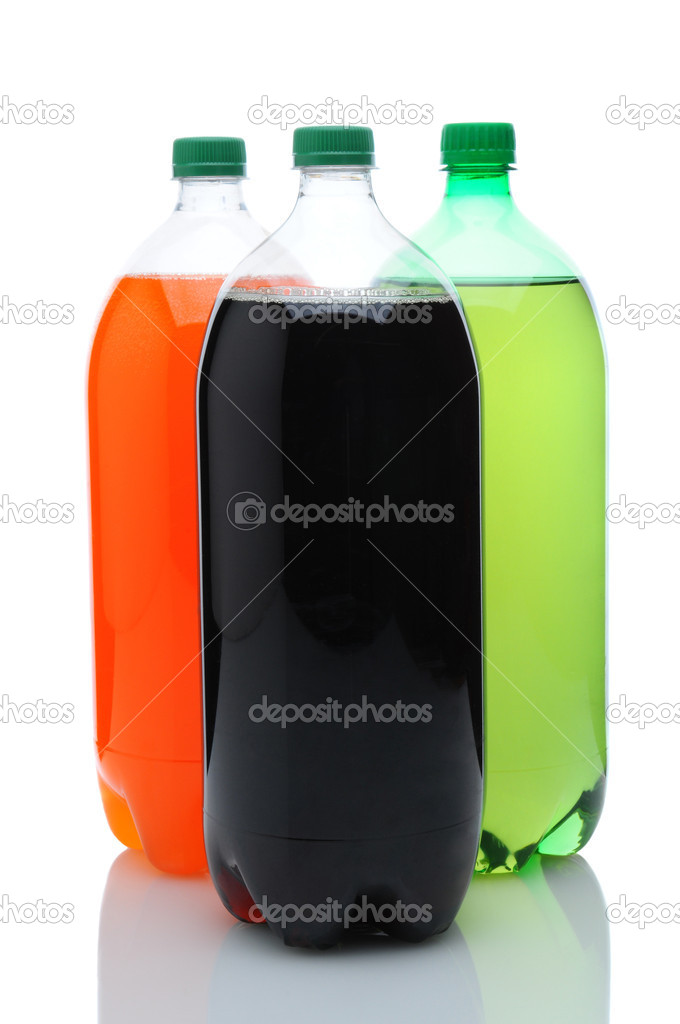 Cola, Lemon Lime and Orange two liter soda bottles on a white background with reflection. — Stock Photo #9193716