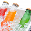 Stock Photo: Closeup of three sodbottles in ice chest