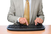 Closeup Businessman Typing — Stok fotoğraf