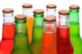 Closeup Asssorted Soda Bottles — Stock Photo