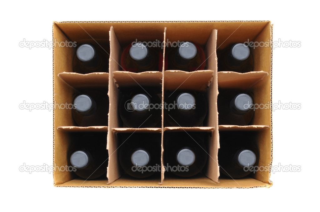 Overhead view of a twelve bottle case of red wine over a white background. — Stock Photo #9789221