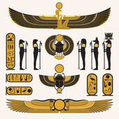 Decorazioni e simboli egiziani antichi — Vettoriale Stock