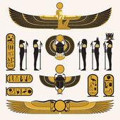 Gamla egyptiska symboler och dekorationer — Stockvektor