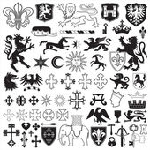 Heraldic symbols and crosses — Stock Vector