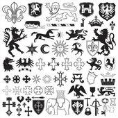 Heraldic symbols and crosses — Stock Vector