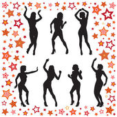 Dancing women — Stock Vector