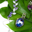 Jewelry at green leaves — Stockfoto