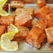 Marinated salmon shashlik — Stock Photo #10563687