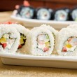 Shrimp sushi roll - Stock Photo