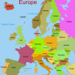 Map of european continent — Stock Vector
