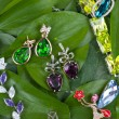 Jewelry at green leaves — Foto de Stock