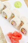 Shrimp sushi roll — Stock Photo
