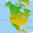Map of north america continent — Stock Vector