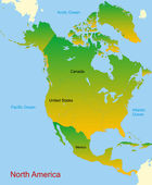 Map of north america continent — Vector de stock