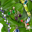 Jewelry at green leaves — Stockfoto #9811983