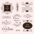 Valentine day decorative labels - Stok Vektör
