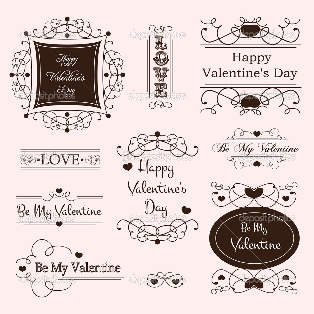 Vector illustration of valentine's day decorative labels — ベクター素材ストック #8267430