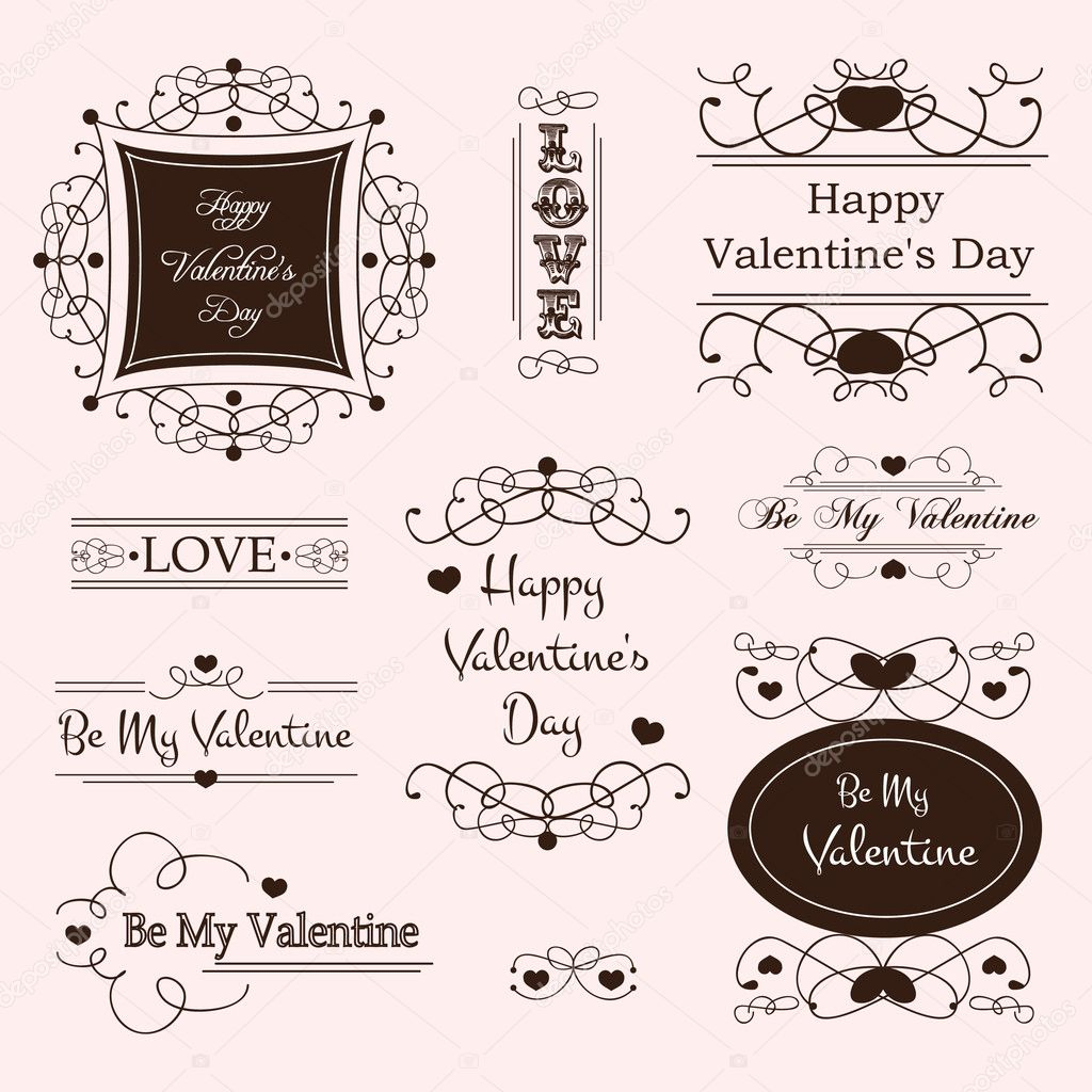 Vector illustration of valentine&#039;s day decorative labels  Stok Vektr #8267430