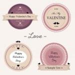 Vintage Valentine day labels — Stock Vector
