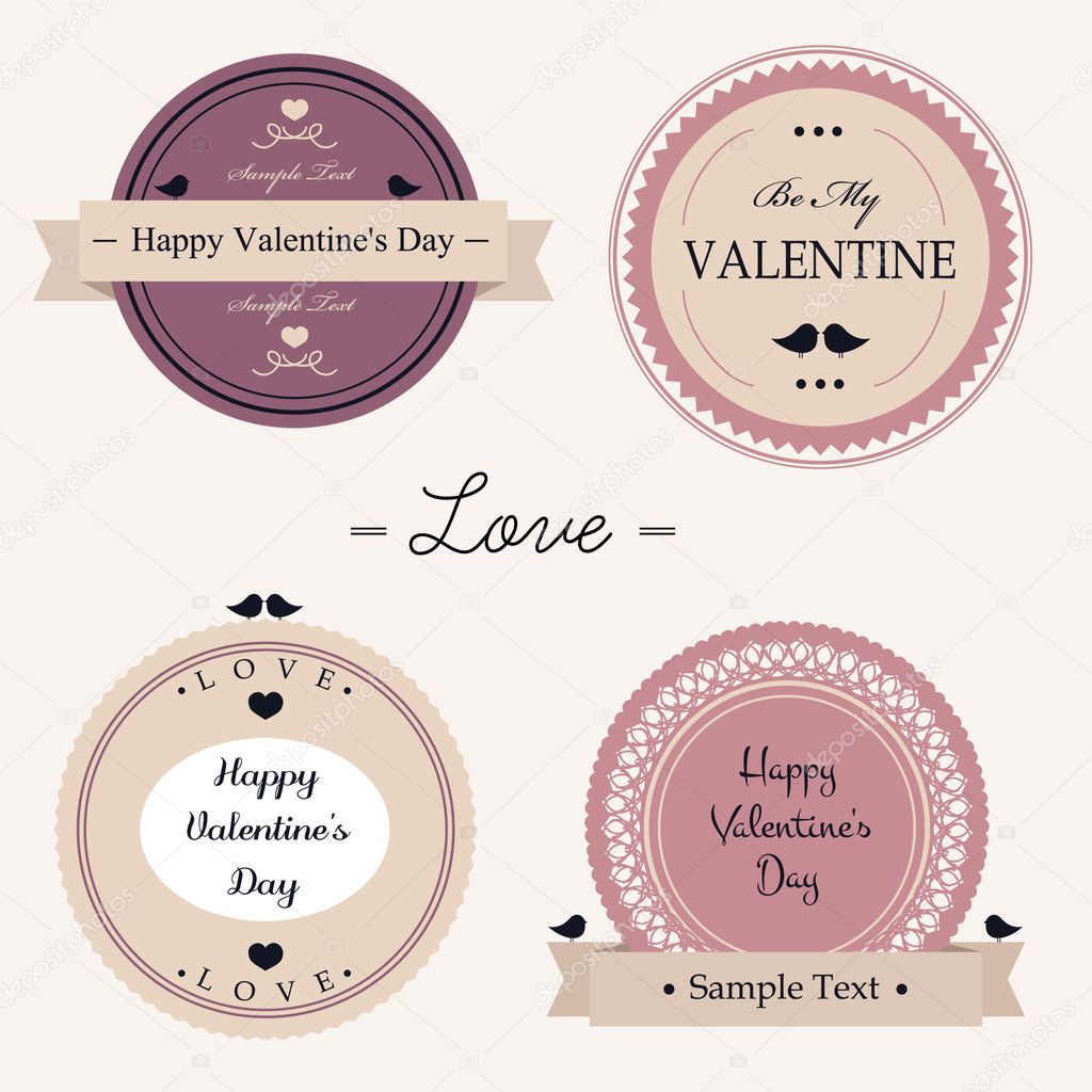 vector illustration of vintage Valentine day labels — Stock Vector #8397264