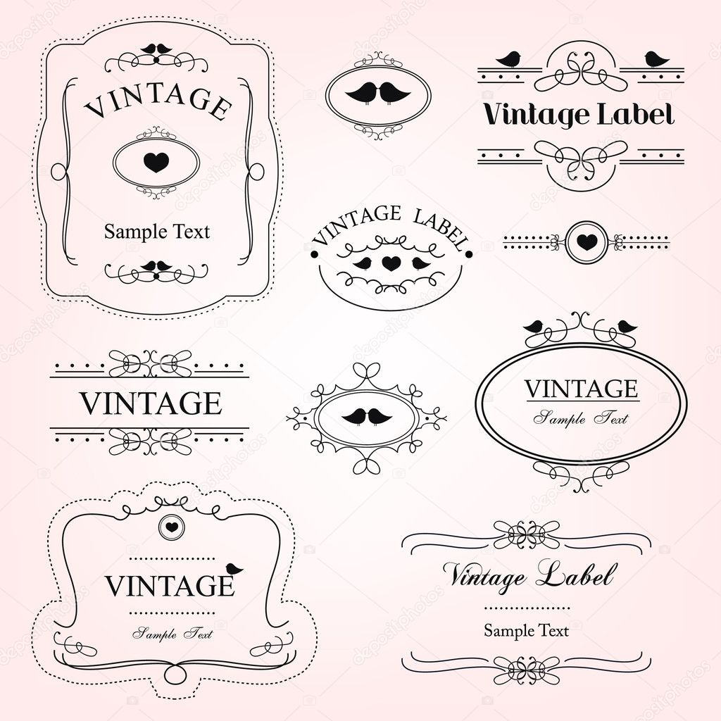 vector illustration of vintage decorative labels — Stock Vector #8397276