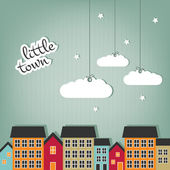 Little town - scrap design — Vector de stock