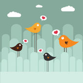 抽象设计与鸟 — 图库矢量图片