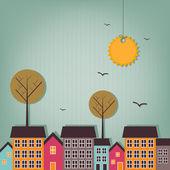 Karikatür kasabası - hurda tasarım — Stok Vektör
