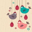 Hanging easter chickens on wooden background - Stok Vektr
