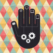 Hand of technology - abstract design — Vector de stock