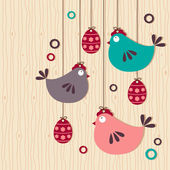 Hanging easter chickens on wooden background — Stock Vector