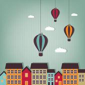 Latające nad miastem - złom elementy balonów na ogrzane powietrze — Wektor stockowy