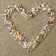Heart arranged from Seashells — Stock Photo