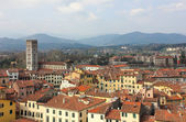 Lucca Aerial panoramic view with Piazza dell' Anfiteatro — Zdjęcie stockowe