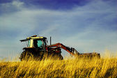 Tractor working in a wheat field. — Stockfoto