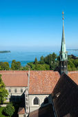Boden lake and church tower in Constance — Stock Photo