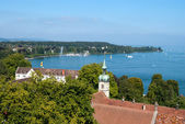 Coast of Boden lake and yachts — Stock Photo