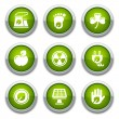 Stock Vector: Green ecology buttons