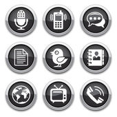 Black communication buttons — Stock Vector