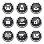 Botones web negro — Vector de stock
