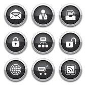 Siyah web düğmeleri — Stok Vektör