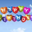 Happy Birthday heart shape balloons in the sky — Stock Photo