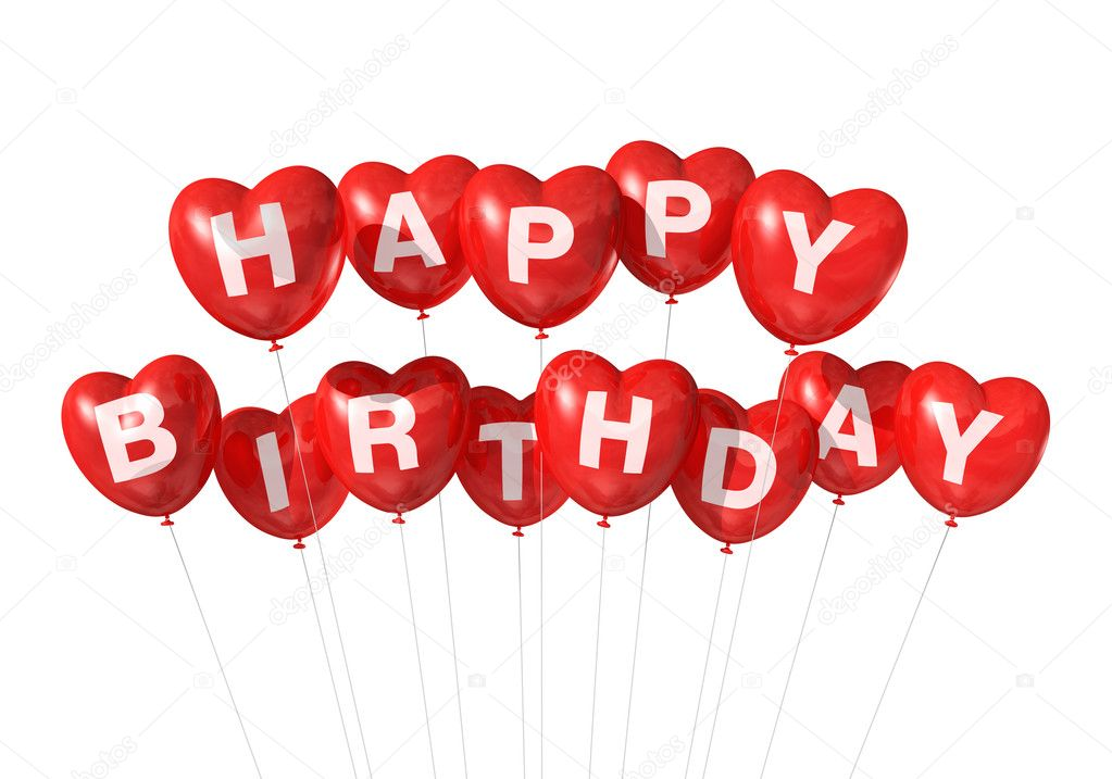 3D red Happy Birthday heart shape  balloons isolated on white background  Stock Photo #10354706